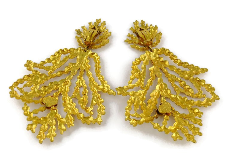 Yves Saint Laurent YSL Vintage Oversized Gold Toned Foliage Dangling Earrings For Sale 4