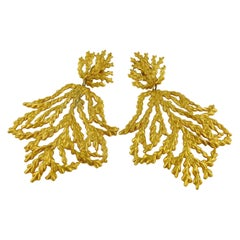 Yves Saint Laurent YSL Vintage Oversized Gold Toned Foliage Dangling Earrings