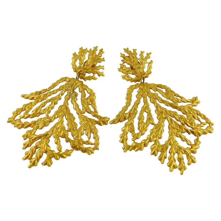 Yves Saint Laurent YSL Vintage Oversized Gold Toned Foliage Dangling Earrings For Sale