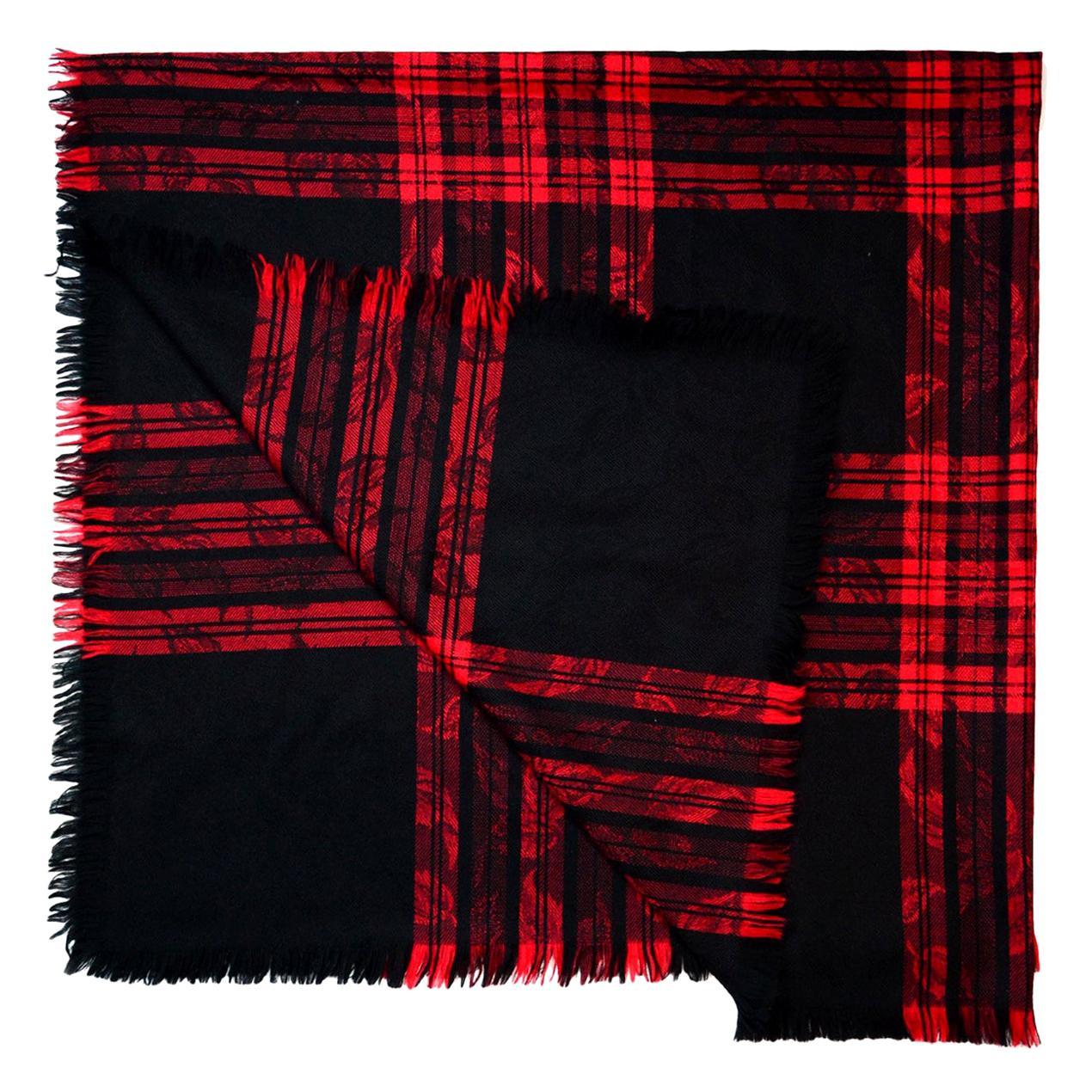 Yves Saint Laurent YSL Vintage Red/Black Jacquard Plaid Blanket Scarf