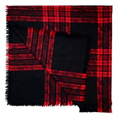 Yves Saint Laurent YSL Vintage Red/Black Jacquard Plaid Blanket Scarf
