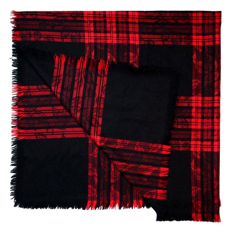 Yves Saint Laurent YSL Vintage Red/Black Jacquard Plaid Blanket Scarf For Sale