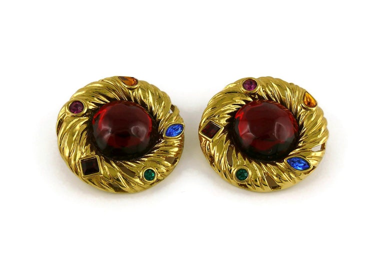 Women's Yves Saint Laurent YSL Vintage Red Cabochon Jewelled Clip-On Earrings For Sale