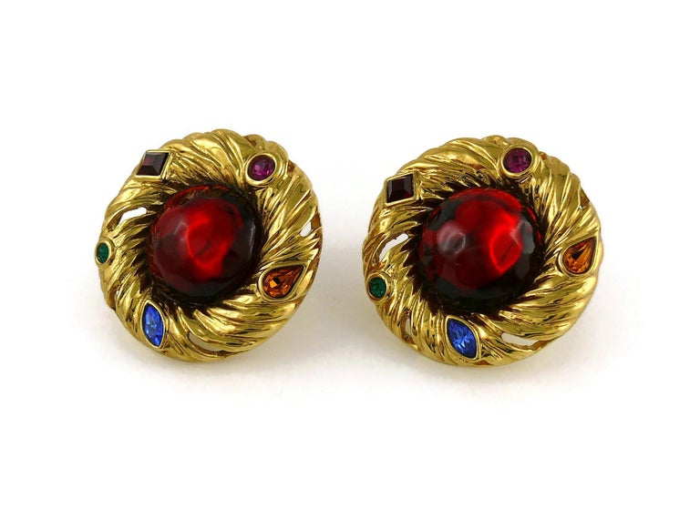 Yves Saint Laurent YSL Vintage Red Cabochon Jewelled Clip-On Earrings For Sale 1