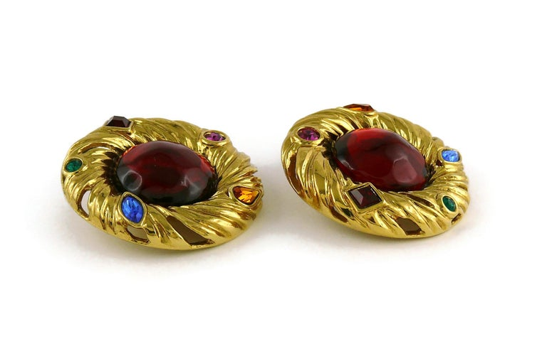 Yves Saint Laurent YSL Vintage Red Cabochon Jewelled Clip-On Earrings For Sale 2