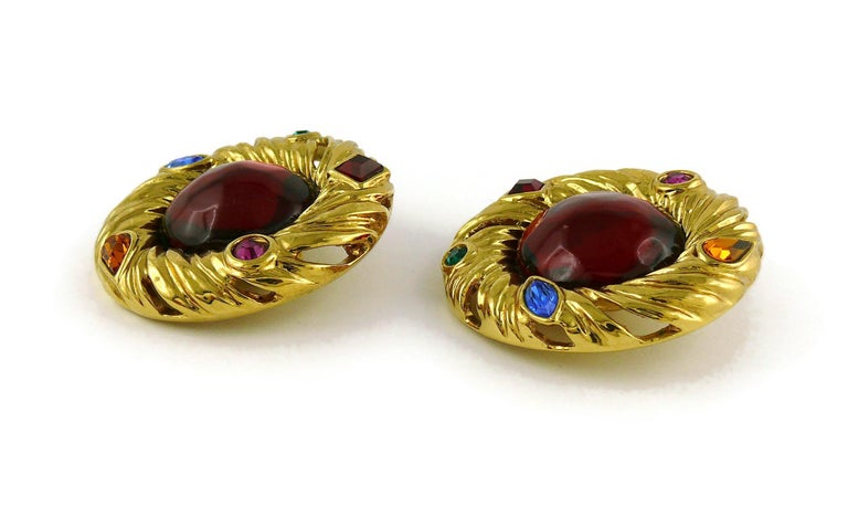 Yves Saint Laurent YSL Vintage Red Cabochon Jewelled Clip-On Earrings For Sale 3