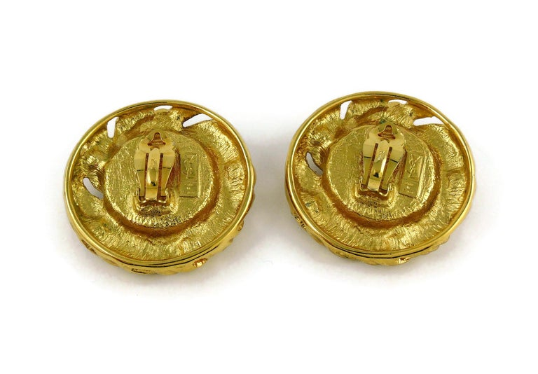 Yves Saint Laurent YSL Vintage Red Cabochon Jewelled Clip-On Earrings For Sale 4