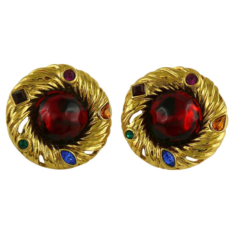 Yves Saint Laurent YSL Vintage Red Cabochon Jewelled Clip-On Earrings For Sale