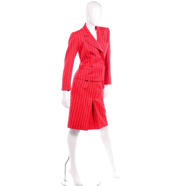 Yves Saint Laurent YSL Vintage Red Pinstripe Skirt & Blazer Jacket Suit  In Excellent Condition For Sale In Portland, OR