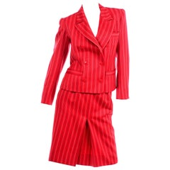 Yves Saint Laurent YSL Vintage Red Pinstripe Skirt & Blazer Jacket Suit
