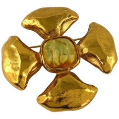 Yves Saint Laurent YSL Vintage Resin Cabochon Maltese Cross Brooch Pendant