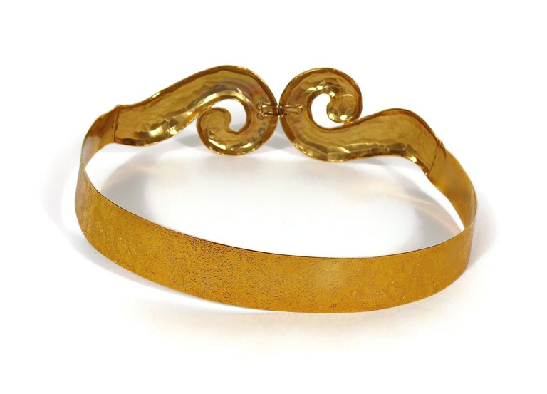 Yves Saint Laurent YSL Vintage Rigid Gold Toned Arabesque Hammered Belt For Sale 6