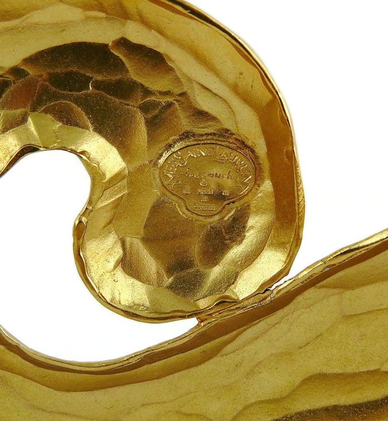 Yves Saint Laurent YSL Vintage Rigid Gold Toned Arabesque Hammered Belt For Sale 7