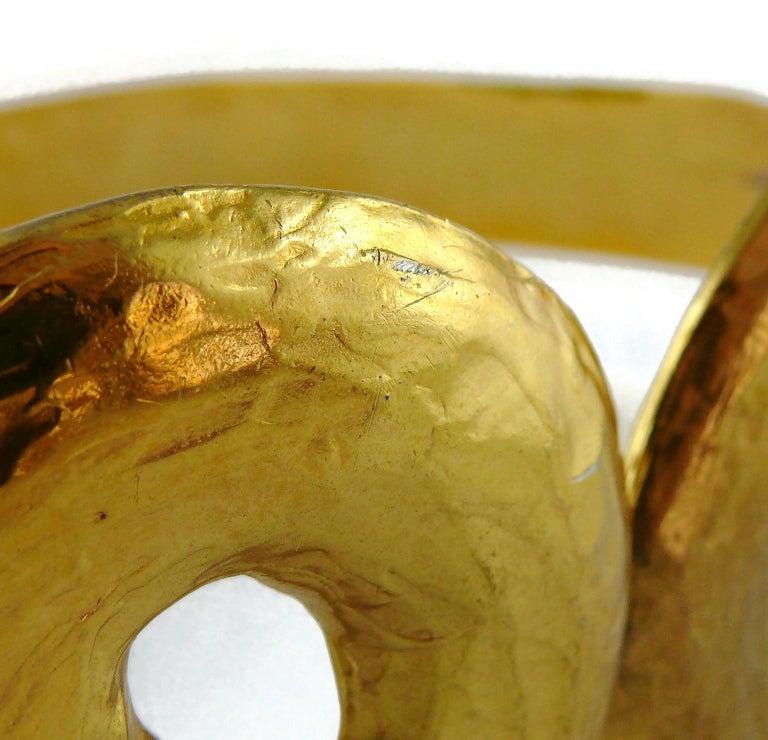 Yves Saint Laurent YSL Vintage Rigid Gold Toned Arabesque Hammered Belt For Sale 8