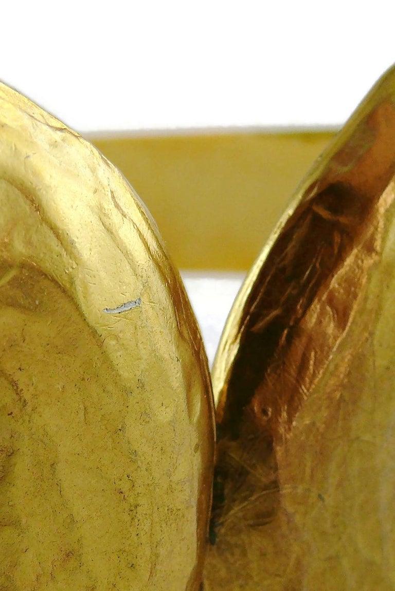 Yves Saint Laurent YSL Vintage Rigid Gold Toned Arabesque Hammered Belt For Sale 9