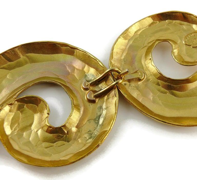 Yves Saint Laurent YSL Vintage Rigid Gold Toned Arabesque Hammered Belt For Sale 12