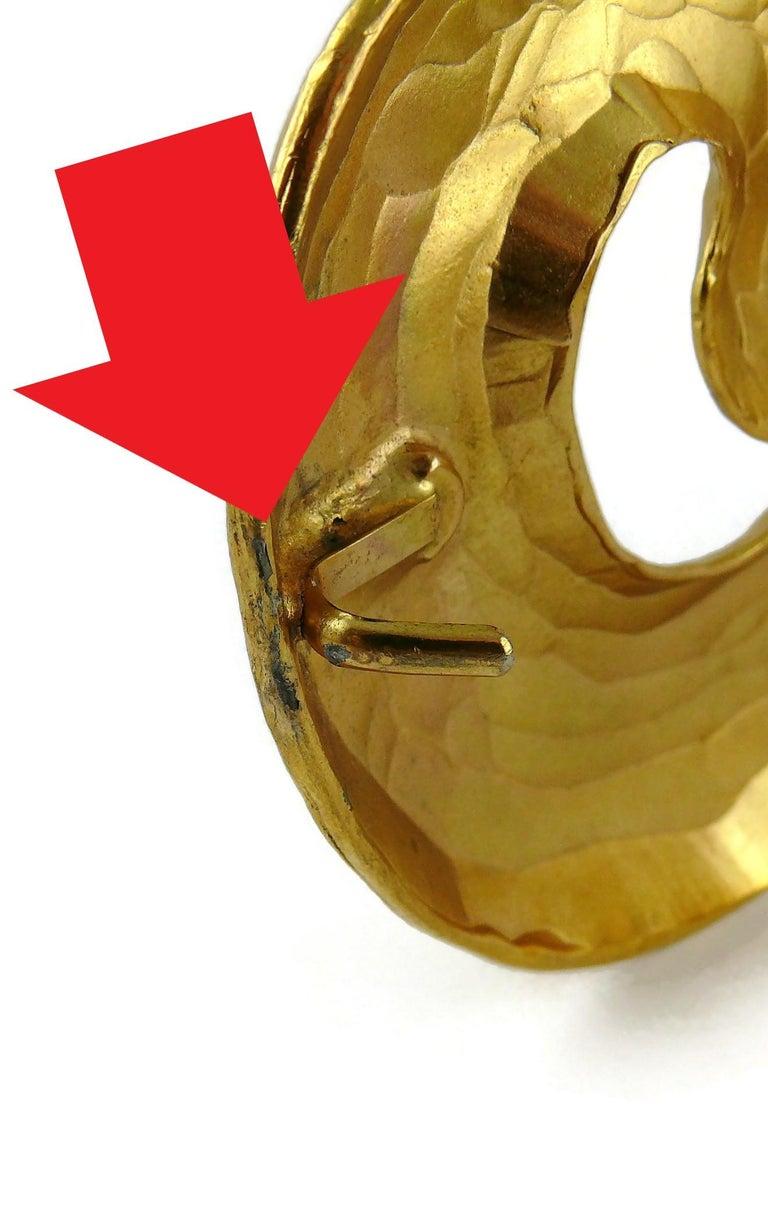 Yves Saint Laurent YSL Vintage Rigid Gold Toned Arabesque Hammered Belt For Sale 14
