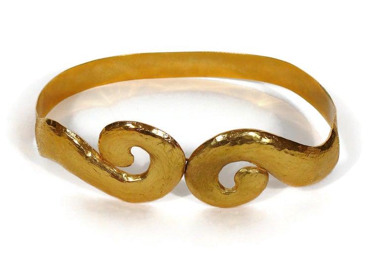Brown Yves Saint Laurent YSL Vintage Rigid Gold Toned Arabesque Hammered Belt For Sale