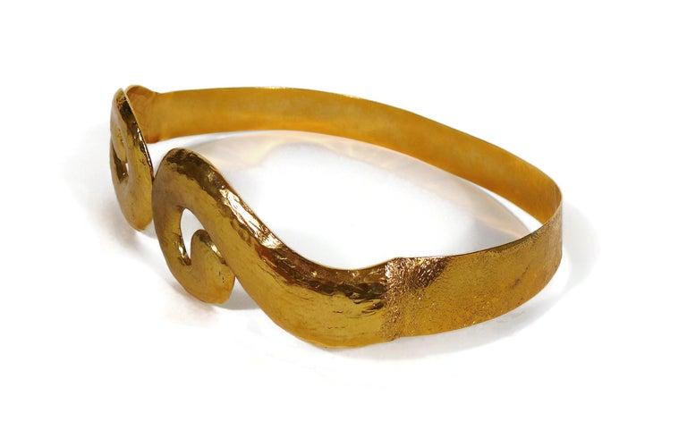 Yves Saint Laurent YSL Vintage Rigid Gold Toned Arabesque Hammered Belt For Sale 2