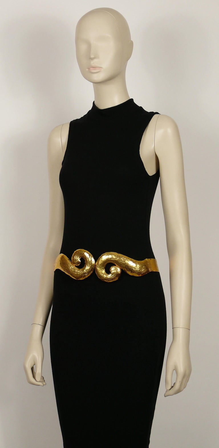 Yves Saint Laurent YSL Vintage Rigid Gold Toned Arabesque Hammered Belt For Sale 3