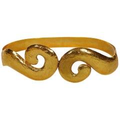 Yves Saint Laurent YSL Vintage Rigid Gold Toned Arabesque Hammered Belt