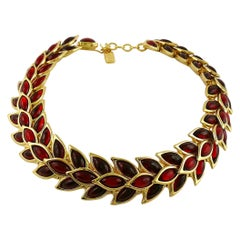 Yves Saint Laurent YSL Vintage Ruby Wheat Choker Necklace