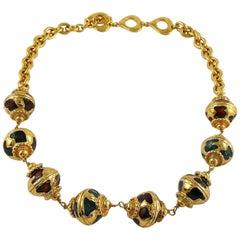 Yves Saint Laurent YSL Vintage Russian Style Enamel Necklace