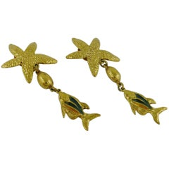 Yves Saint Laurent YSL Vintage Sea Life Dangling Earrings