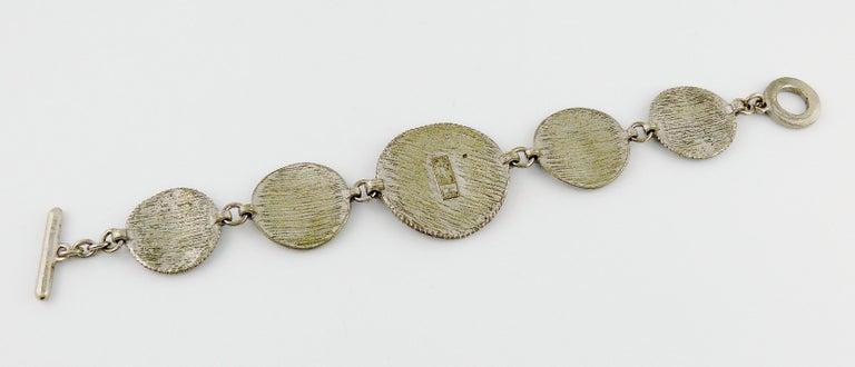Yves Saint Laurent YSL Vintage Silver Toned Tuareg Inspired Link Bracelet For Sale 6
