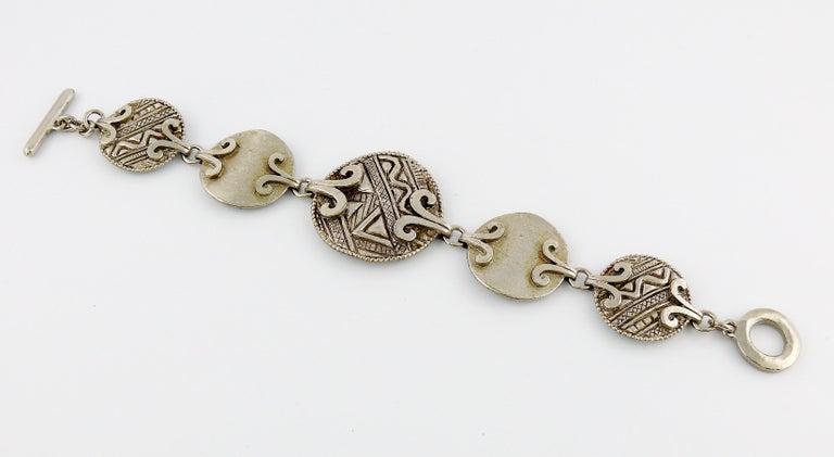 Women's Yves Saint Laurent YSL Vintage Silver Toned Tuareg Inspired Link Bracelet For Sale