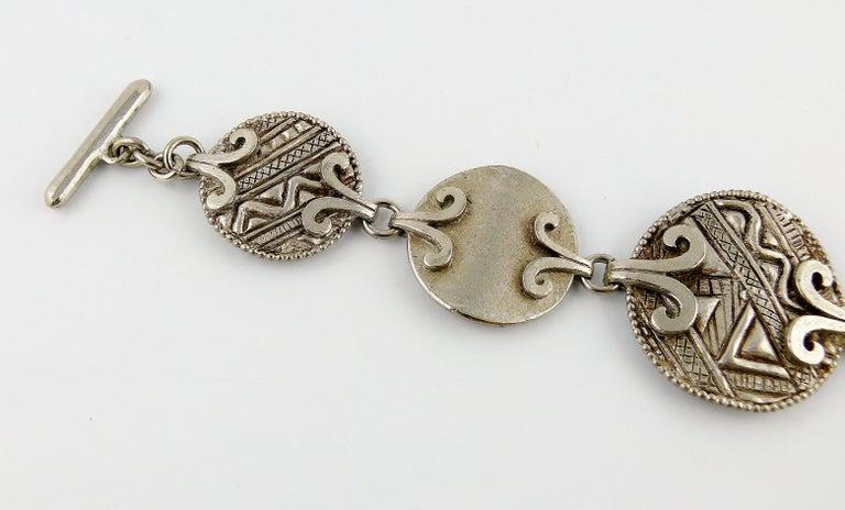Yves Saint Laurent YSL Vintage Silver Toned Tuareg Inspired Link Bracelet For Sale 1