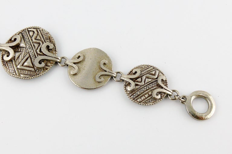 Yves Saint Laurent YSL Vintage Silver Toned Tuareg Inspired Link Bracelet For Sale 3