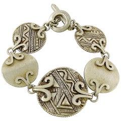 Yves Saint Laurent YSL Vintage Silver Toned Tuareg Inspired Link Bracelet