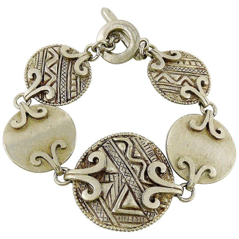 Yves Saint Laurent YSL Vintage Silver Toned Tuareg Inspired Link Bracelet For Sale