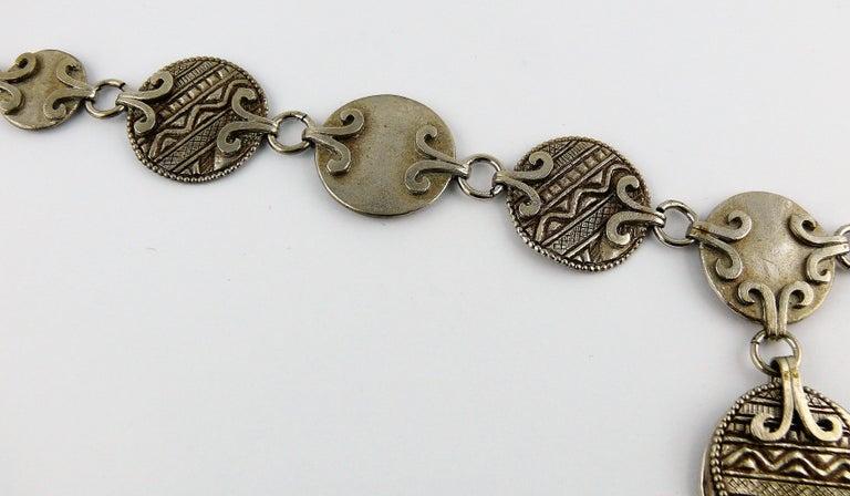 Women's Yves Saint Laurent YSL Vintage Silver Toned Tuareg Inspired Necklace For Sale
