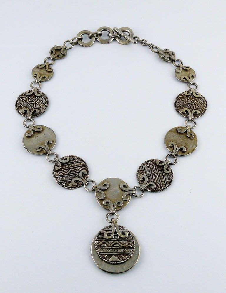 Yves Saint Laurent YSL Vintage Silver Toned Tuareg Inspired Necklace For Sale 2