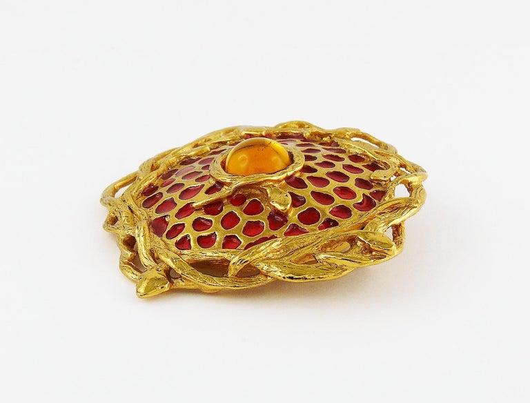 Yves Saint Laurent YSL Vintage Snake Serpent Brooch Pendant For Sale 1