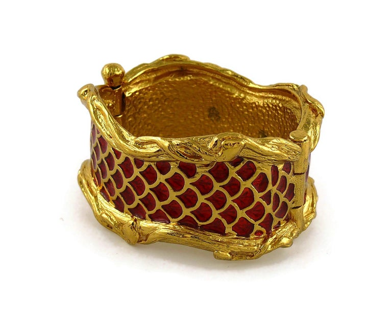 Women's Yves Saint Laurent YSL Vintage Snake Serpent Cuff Bracelet For Sale