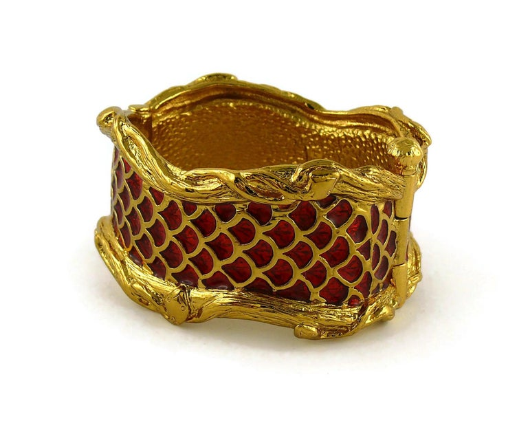 Yves Saint Laurent YSL Vintage Snake Serpent Cuff Bracelet For Sale 2