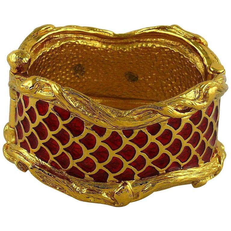 Yves Saint Laurent YSL Vintage Snake Serpent Cuff Bracelet For Sale
