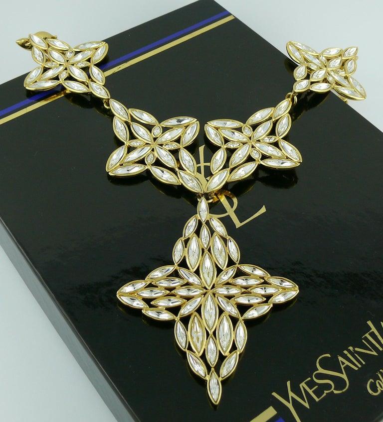Yves Saint Laurent YSL Vintage Statement Crystal Necklace For Sale 6