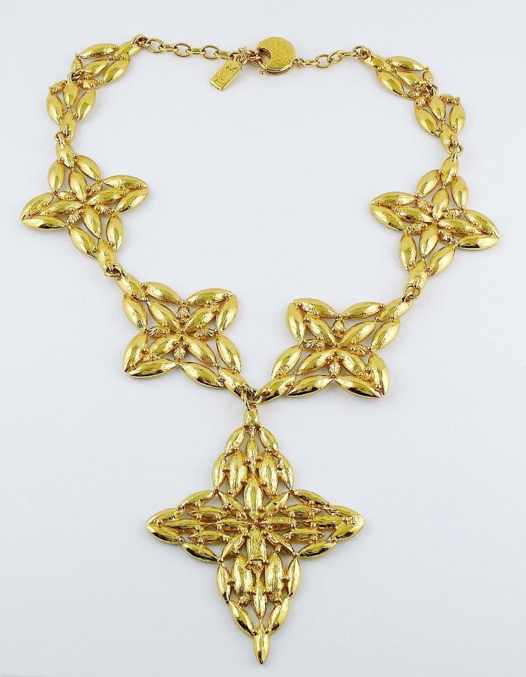 Yves Saint Laurent YSL Vintage Statement Crystal Necklace For Sale 7