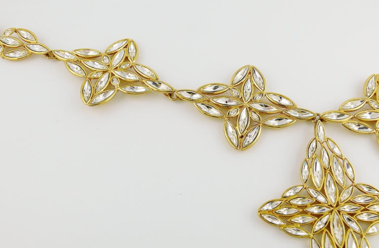 Women's Yves Saint Laurent YSL Vintage Statement Crystal Necklace For Sale