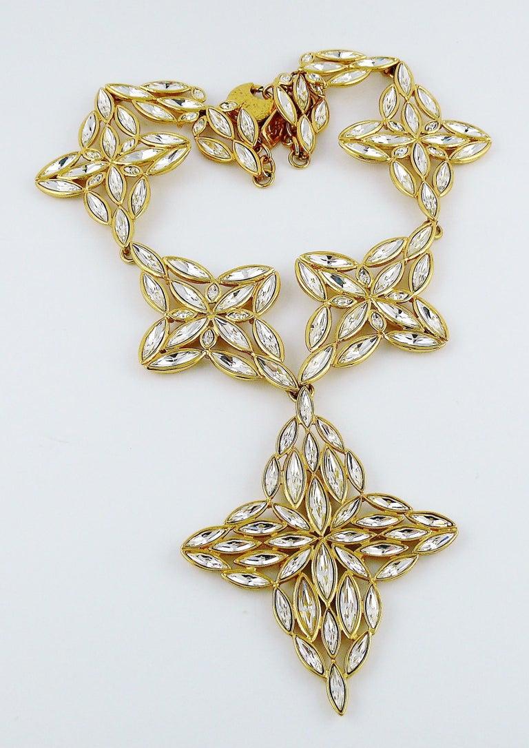 Yves Saint Laurent YSL Vintage Statement Crystal Necklace For Sale 2