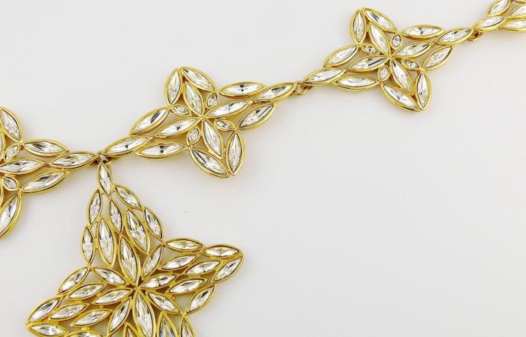 Yves Saint Laurent YSL Vintage Statement Crystal Necklace For Sale 3