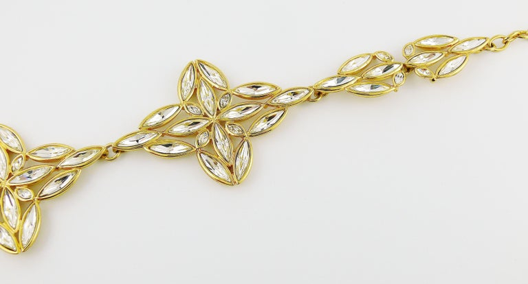 Yves Saint Laurent YSL Vintage Statement Crystal Necklace For Sale 4