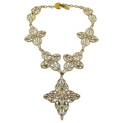 Yves Saint Laurent YSL Vintage Statement Crystal Necklace