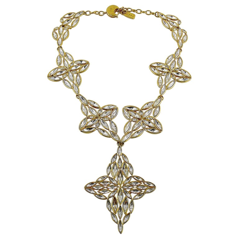 Yves Saint Laurent YSL Vintage Statement Crystal Necklace For Sale
