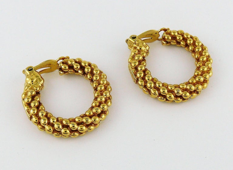 Yves Saint Laurent YSL Vintage Textured Hoop Earrings In Good Condition For Sale In Nice, FR