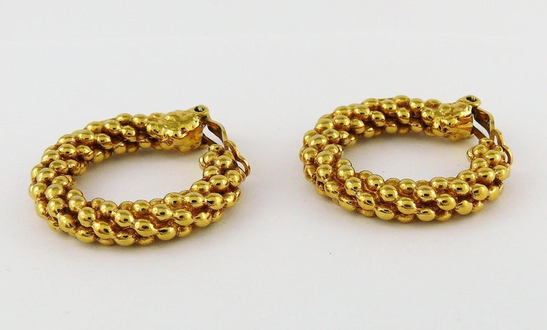 Women's Yves Saint Laurent YSL Vintage Textured Hoop Earrings For Sale